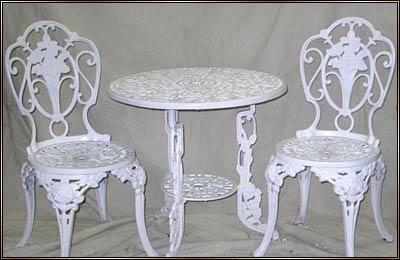 Iron/aluminum Furniture. Photo Photo. 3 Piece Rose Bistro Set